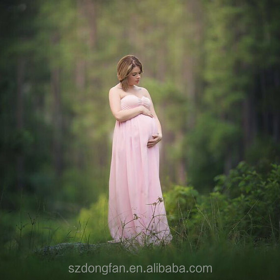 Maternity Pink Chiffon Floor Length Dress Bridesmaids Flower Girls Wedding Dress