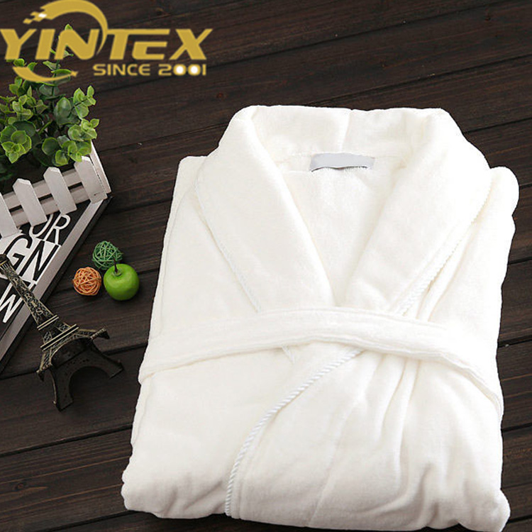 Wholesale luxury hotel spa robe 100% cotton cut velvet dressing gown bathrobe