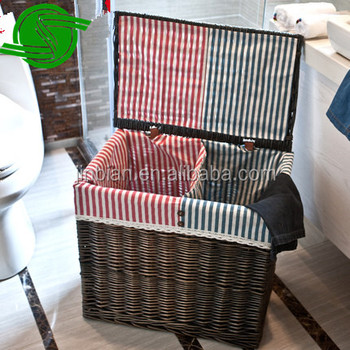 Wholesale all kinds of hand woven storage baskets, laundry baskets with lid and fabric lining