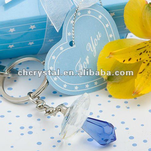 Crystal Pacifier Keychain Favor, crystal dummy keychain gifts