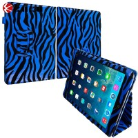 luxury high quality pu leather Blue Zebra Folio Pouch Flip Case Cover Stand for Apple iPad Air
