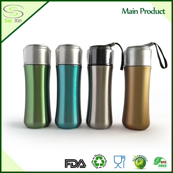 New designed stainless steel double walled shiny print bachelor cup with tea infuser / Themos