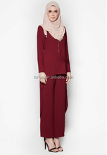Sport style muslim dress long sleeve dress and pants two piece suit for islamic women