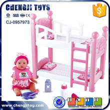 Plastic baby toy doll furniture playset double beds reborn baby doll cribs