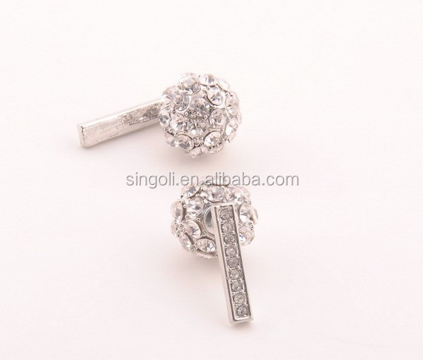 2015fashion rhinestone bar crystal ball women's back and front earring