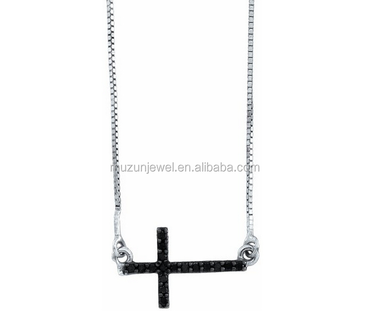 Black Diamond Sideway Cross 925 Sterling Silver Charm Pendant Necklace