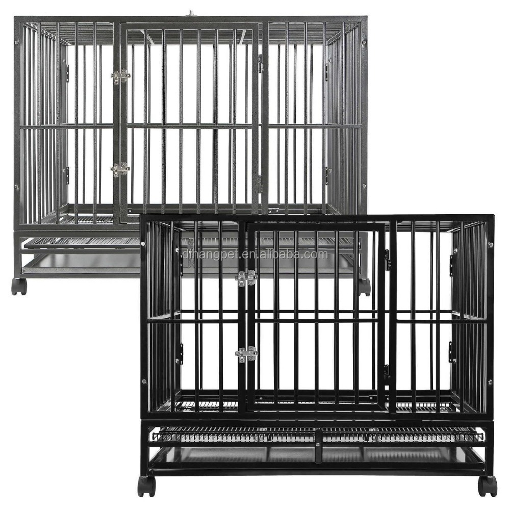 Heavy Duty Square Tube Large Dog Cage with four wheels For Sale