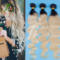 No Shedding No Tangle Colored Two Tone Ombre Human Hair Weaves #1b 613 Dark Root Ombre Indian Body Wave Remy Hair Extensions