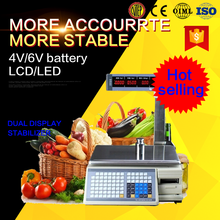 40kg rs232 barcode weighing price computing cash register scale
