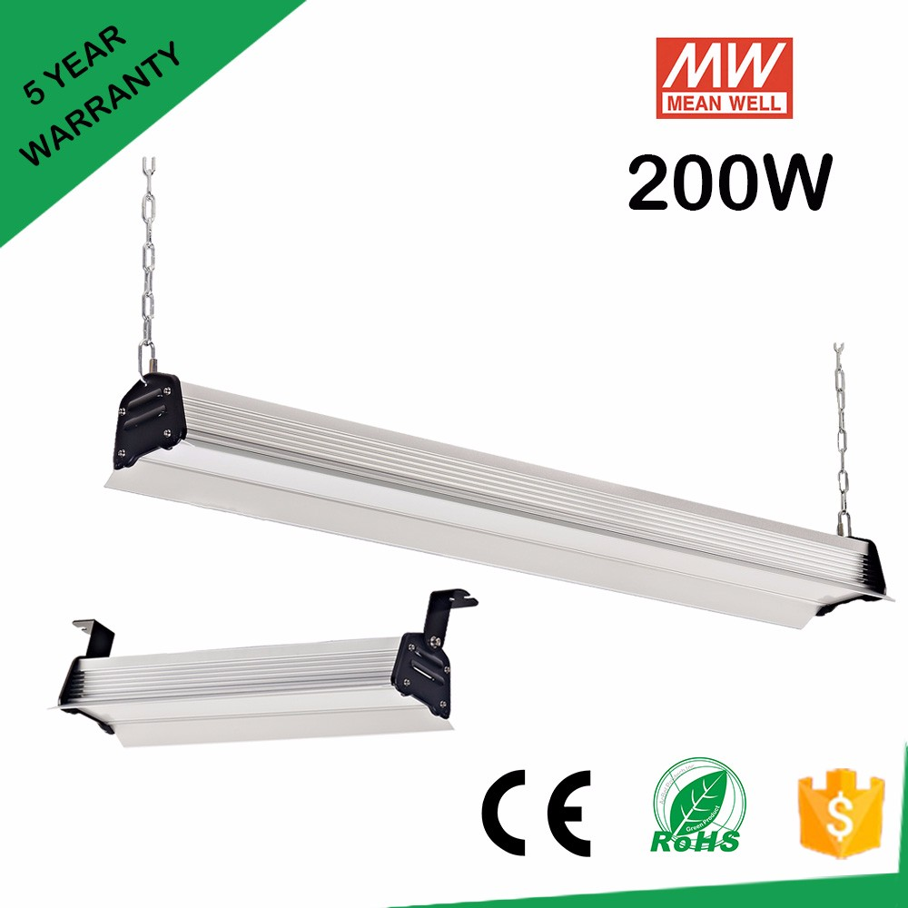 IP54 90 -305Vac 200w linear led lighting for factory wharehouse