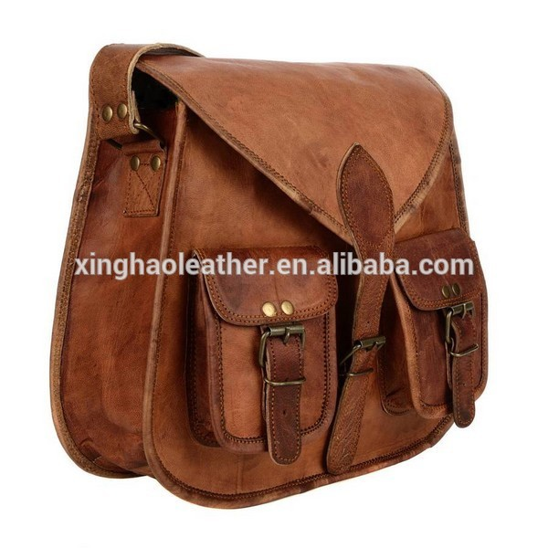 Brown Leather Satchel Stile Sella Sacchetto di Spalla Crossbody
