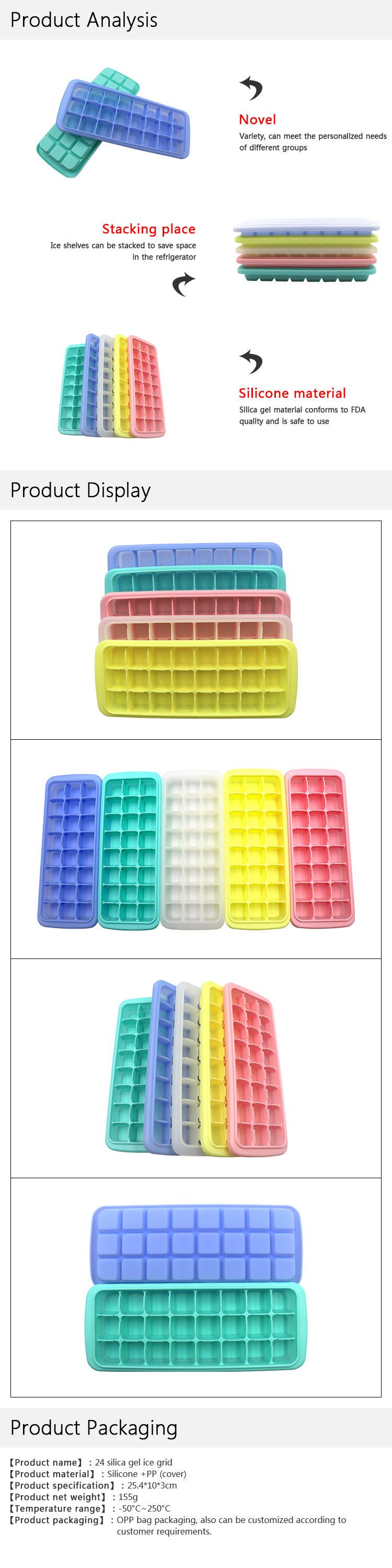 2020 Amazon Hot Sales 24 Cavity DIY Ice Cube Maker Silicone Ice Cube Trays With Lid