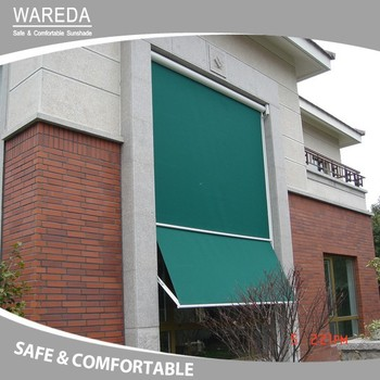 Drop-arm cassette awning with gas-piston arms window awning