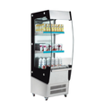 180L To 390L High Efficient Stainless Steel Glass Door Open Air Refrigerated Display With LED Lights