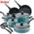 12 pcs riverbend aluminum non stick cookware set ,gulf blue speckle
