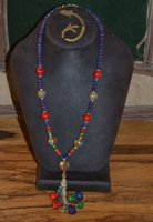 semi precious stone and sterling silver handmade drop necklace