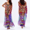 African baju kurung rainbow fancy printed woman colorful long dress