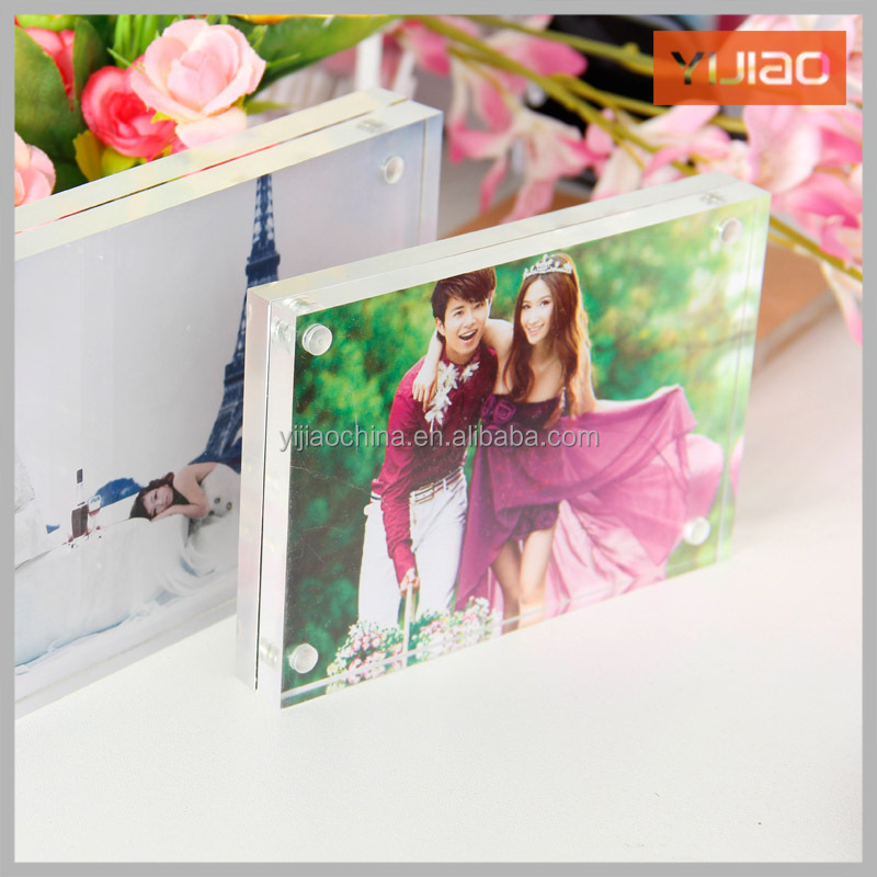 transparent double sided Square with magnets acrylic photo frame Designs