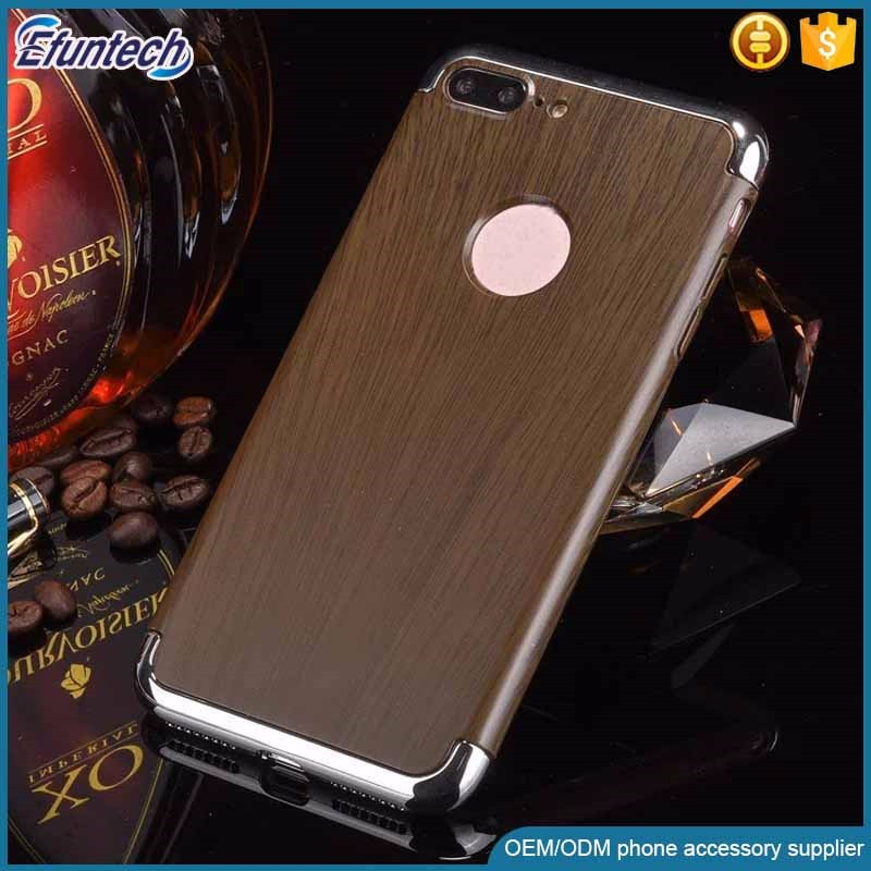Factory supply ectroplated frame wood style plastic mobile phone cover for iphone 7