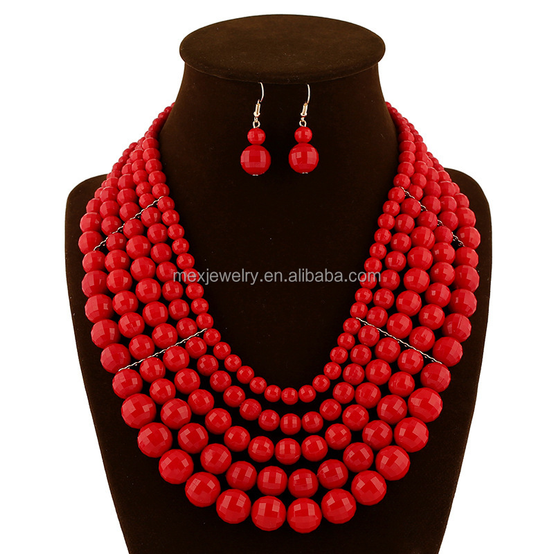 Multi colors!High quality heavy African nigerian red coral beads wedding bridal jewelry set