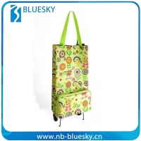 Promotional folding Shopping Trolley Bag, folding shopping bag with wheels