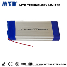 high energy density 743375 7.4v 1900mah rechargeable lipolymer battery with lead wire and connector for Mobile phone