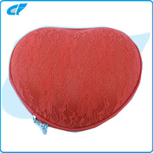 Red heart shape lace cover travel EVA bra case