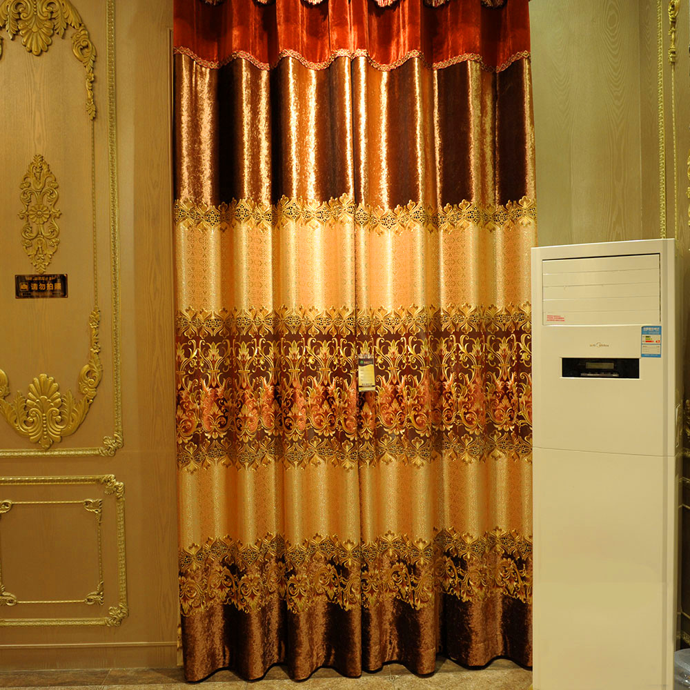 Customized reddish colorway jacquard and velvet pachwork towel embroidery, embroidered window curtain fabric J312-11