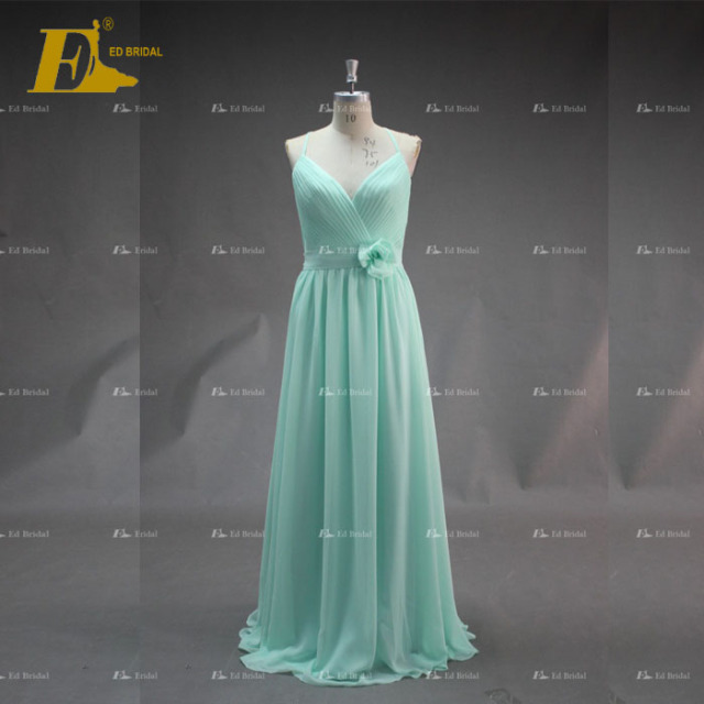 ED Bridal Exquisite Spaghetti Strap Ruffle Chiffon Long Bridesmaid Dress 2017