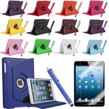 Pu Leather Rotating Case Smart Cover Stand For New APPLE iPad mini 1 2 Case Tablet Case w film &Pen