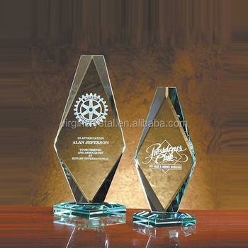 High quality 3d laser engraving Jade glass diamond shaped trophy blanks for customized corporate awards gifts