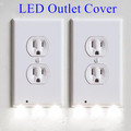 Custom Room Usage White LED Wall Outlet Cover with Night Lights