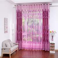 High quality red sheer organza voile jacquard blackout burnout curtain fabric