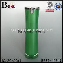 unique design empty acrylic cream lotion bottle green 15ml 30ml 50ml double wall plastic lotion bottle packaging