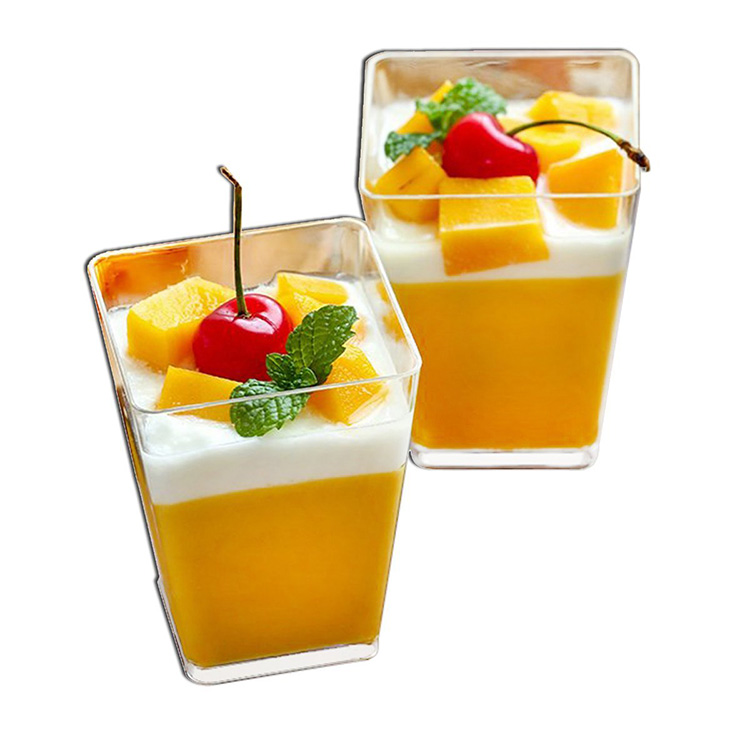Tall Square Clear Plastic Dessert Tumbler Cups