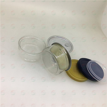 65X30mm 100ml Transparent Color Cannabi Jar PET Can With Easy Open Lid And Plastic Cap