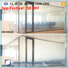 China Factory directly switchable pdlc smart screen glass for wide use 5+5/6+6/8+8mm