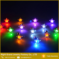 316L Surgical Steel Star Shape Light Up LED Bling Earrings