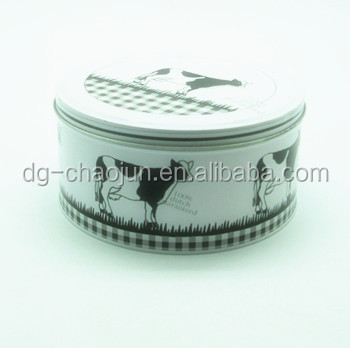 decorative CMYK large round tin box cookie container with ISO certified
