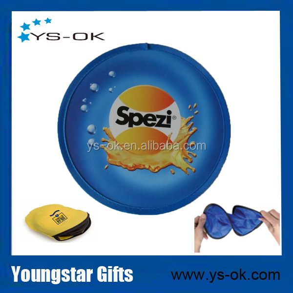 Wholesale personalized 210D polyester round shape foldable frisbee fan with pouch