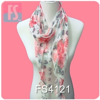 fashion silk georgette scarves with red rose printing