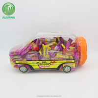 JJW/OEM 2.5g Lovely Car Jar Tattoo Bubble Gum: 300pcs per jar; mixed fruit flavors