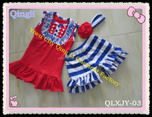 Super Cute Little Girls Summer Casual Suit Sets Red Tank Top With Ruffle Stripe Shorts Cotton Kids Girls Summer Boutique Outfit