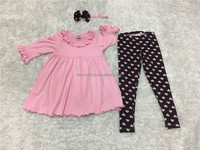 cute casual child girl ruffle top and leggings outfits with headband kids 2 pieces outfits