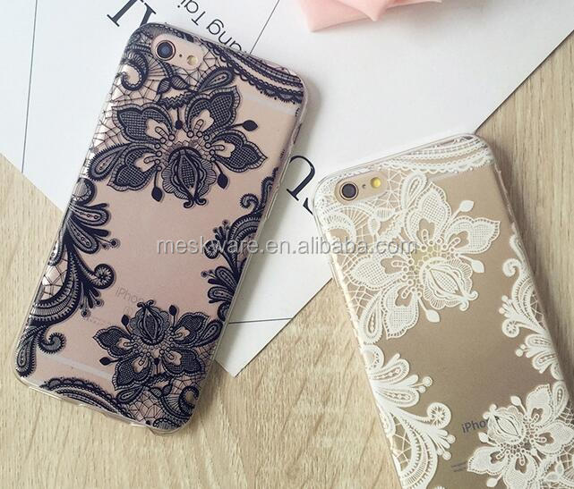 Girls Design Lace TPU Bumper Clear Back Panel Protective Cell Phone Cover for iPhone 6 5 7