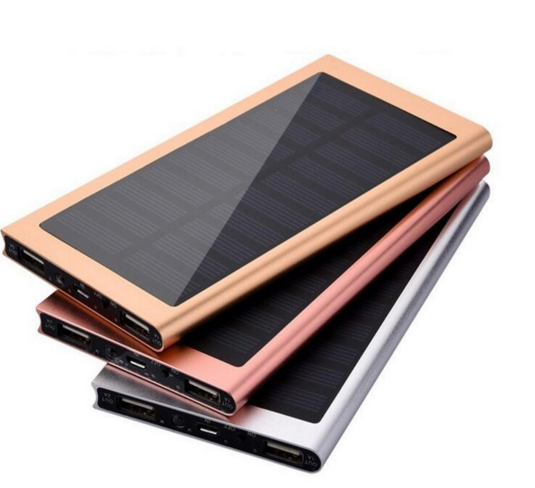 High Quality portable Metal Slim solar Power Bank 10000mah with free sample