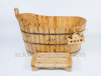 hot sale handmade wooden stand bathroom tubs for one person from China