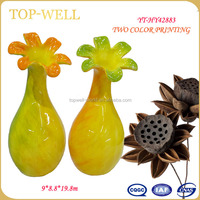 Chinese ceramic vase wholesale flower shape with bright and colored glazed for furnishing