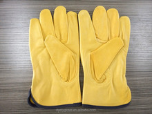 Yellow Goat Leather Working Driver Safety Gloves