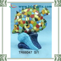Fashion mosaic crafts, polyresin mosaic fish shape model for home decoration